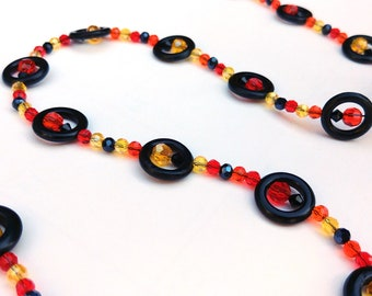 Fall Colors Autumn Leaves Geometric Necklace, Long Black Crystal Bead Necklace