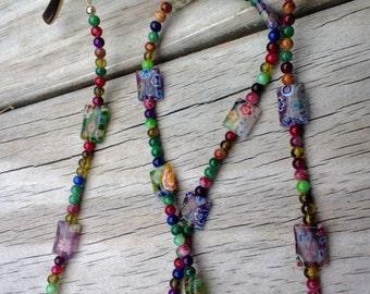 Eyeglass Chain, Millefiori Reading Glasses Chain, Colorful Eyeglass Holder Fashion Accessory, Beaded Lanyard