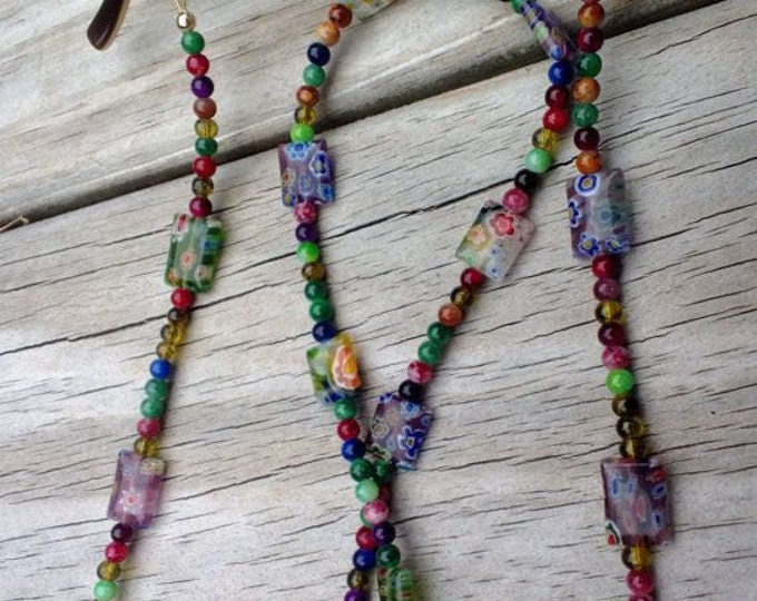 Featured listing image: Eyeglass Chain, Millefiori Reading Glasses Chain, Colorful Eyeglass Holder Fashion Accessory, Beaded Lanyard