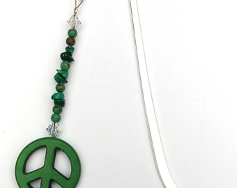 Peace Sign Beaded Bookmark, Gift for Her