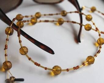 Honey Colored Beaded Eyeglass Chain, Amber Beaded Lanyard for Reading Glasses
