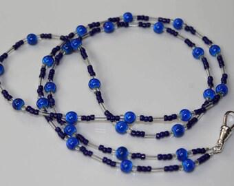 Lanyard for ID Badge Holder, Blue Work Necklace, School Teacher ID Lanyard, Coworker Gift
