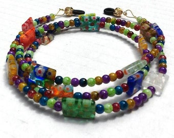 Eyeglass Cord, Beaded Chain For Glasses, Millefiori Reading Glasses Chain, Colorful Eyeglass Chain Accessory