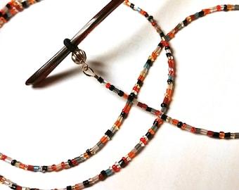Eyeglass Holder, Tiny Bead Chain for Glasses, Harvest Colors Tiny Beads Eyeglass Chain