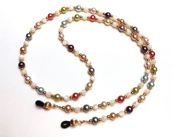 Pastel Eyeglass Chain, Light Pearl Coated Glass Bead Lanyard Necklace for Glasses