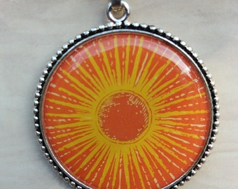 Sun Pendant, Metal and Epoxy Pendant
