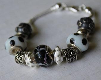 Black and White Chunky Bracelet, European Bracelet, Large Hole Add A Bead Bracelet