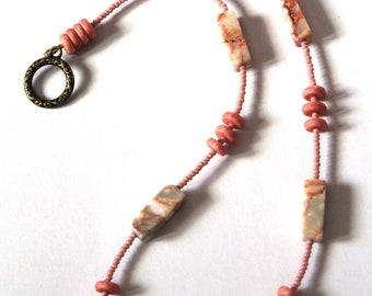 Salmon Color Short Necklace, Pale Pink Bead Jewelry