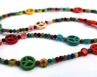Peace Sign Eyeglass Chain, Big Bead Glasses Holder
