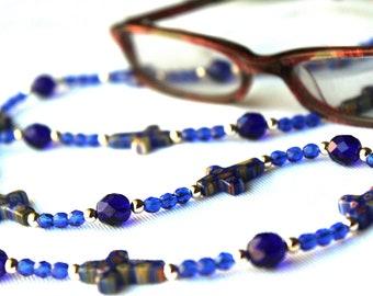 Cross Religious Gift, Blue Beaded Chain for Glasses, Religious Glasses Lanyard, Christian Gifts, Eyeglass Chain
