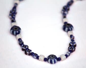 Dark Blue Bead Necklace, Millefiori Glass Beads