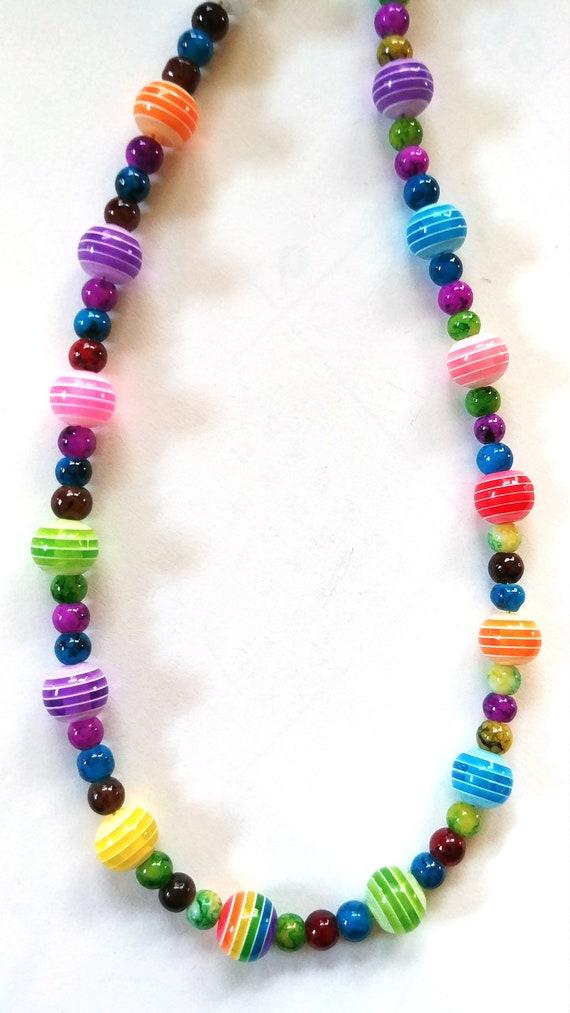 Colorful Eyeglass Holder Chain, Rainbow Bead Cord for Glasses, Girls