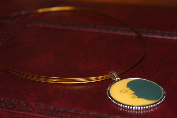 Moon Pendant Necklace,  Large Crescent Moon Face, Celestial Necklace, Zodiac Fall Moon