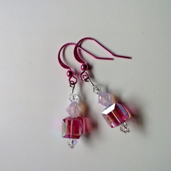 Pink Crystal Earrings, Drop Dangle Earrings, Minimalist Jewelry