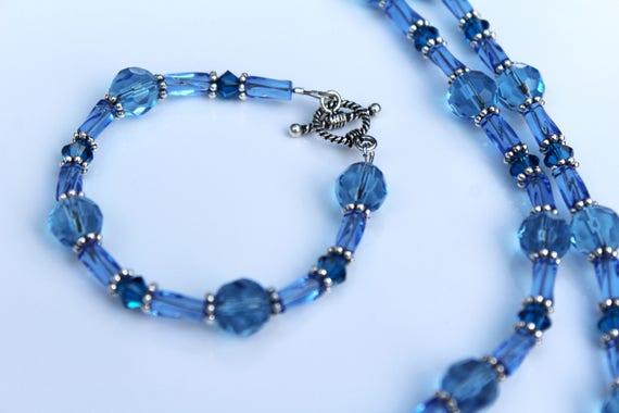 Blue Bead Necklace Bracelet Set