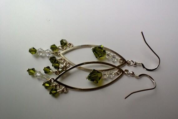 Green Chandelier Earrings, Austrian Crystal Jewelry, Olive Green Earrings, Long Silver Earrings, Geometric Earrings