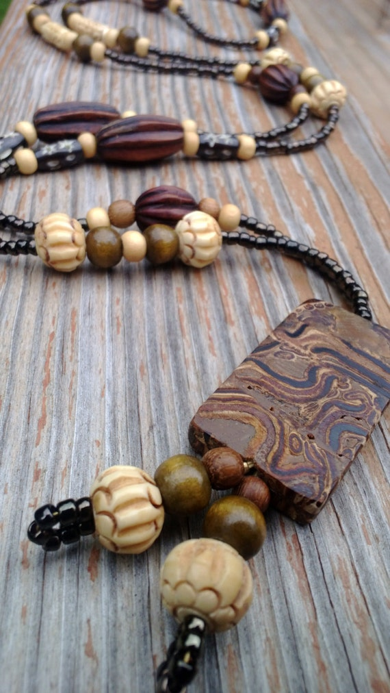 Wood Beaded Tassel Necklace, Long Boho Lariat, Carved Wood Bohemian Necklace, Wood Bead Brown Necklace