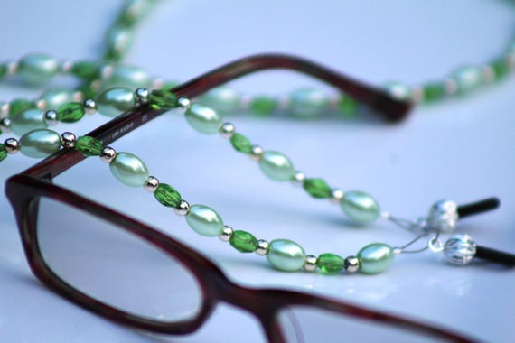 Women's Reading Glasses Chain, Mint Green Eyeglass Holder Necklace