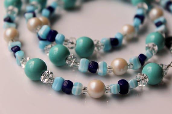 Blue Beaded Eyeglass Holder, Baby Blue Chain For Glasses, Reading Glasses Accessory, Light Blue Eyeglass Chain
