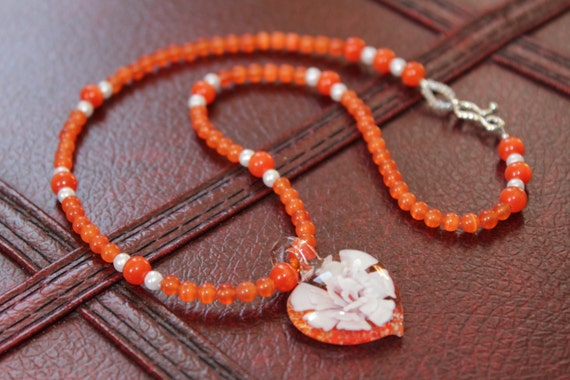 Orange Beaded Necklace, Lampwork Glass Heart, Wife Gift Idea, Heart Pendant Necklace