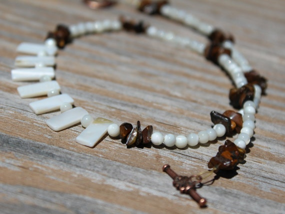 Mother of Pearl, Brown and White Minimalist Short Necklace