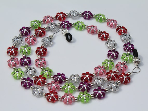 Chain for Glasses, Flower Eyeglass Chain, Adult / Kid's Colorful Holder for Glasses, Beaded Lanyard Gift for Her, Eyeglasses Jewelry