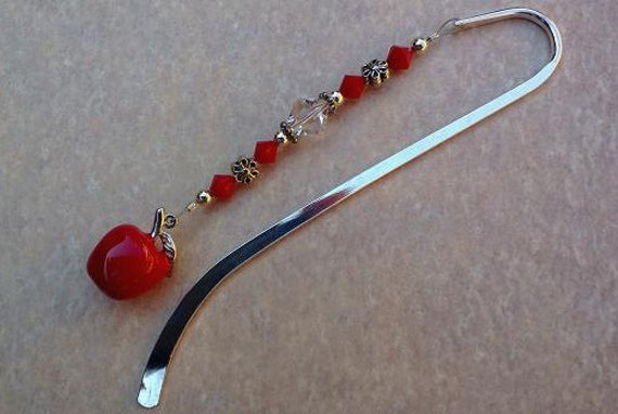 Apple Beaded Bookmark, Crystal Bookmark