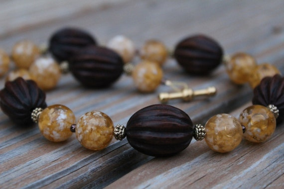 Short Brown Beaded Necklace, Yellow Boho Chunky Bead Jewelry, Earth Tone Bead Necklace