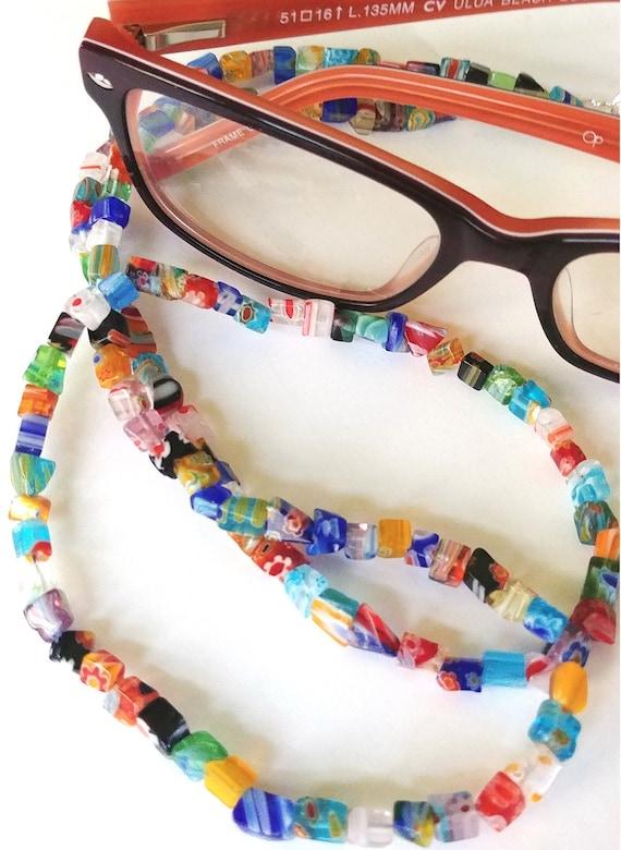 Eyeglass Chain, Colorful Bead Holder for Glasses, Reading Glasses Chain