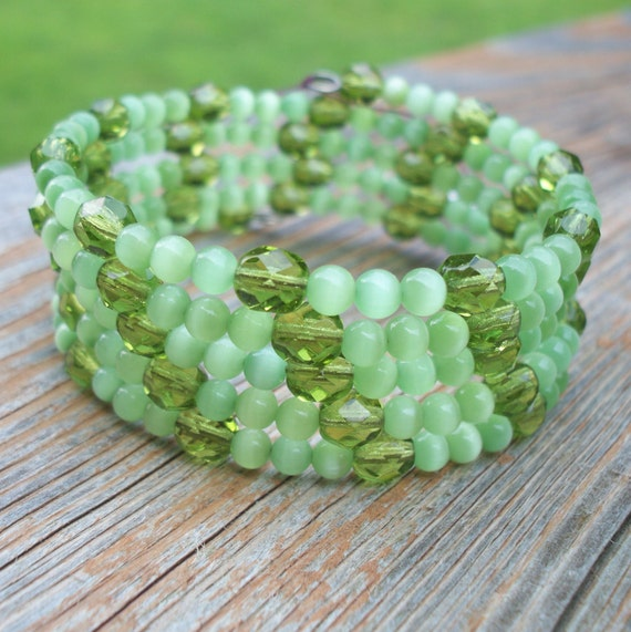 Memory Wire Wrap Bracelet, Thick Green Beaded Bracelet,  Light Green Accessory