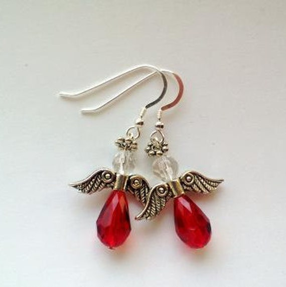 Red Angel Earrings , Guardian Angel Faith Jewelry, Red Earrings, Angel Gifts