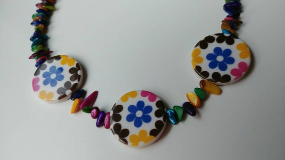 Multi Color Necklace, Rainbow Statement Necklace, Chunky Bead Colorful Flowers, Fun Jewelry