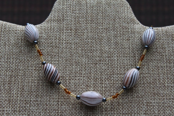 Brown and Black Bead Necklace, Neutral Colors
