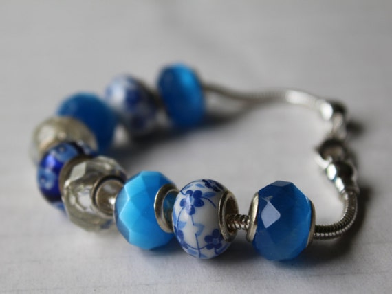 Big Bead Bracelet, Chunky Blue Bracelet, Large Hole Beads, Add a Bead Snake Chain Bracelet, Ocean Blue