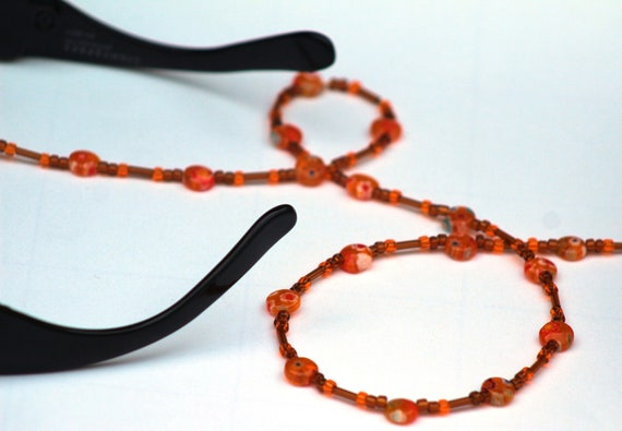 Brown and Orange Eyeglass Chain, Vintage Colors Glasses Holder