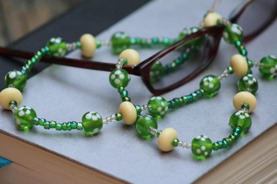Beaded Eyeglass Holder, Green Eyeglass Chain, Green and Yellow Chain for Glasses, Lampwork Beads Necklace for Eyeglasses