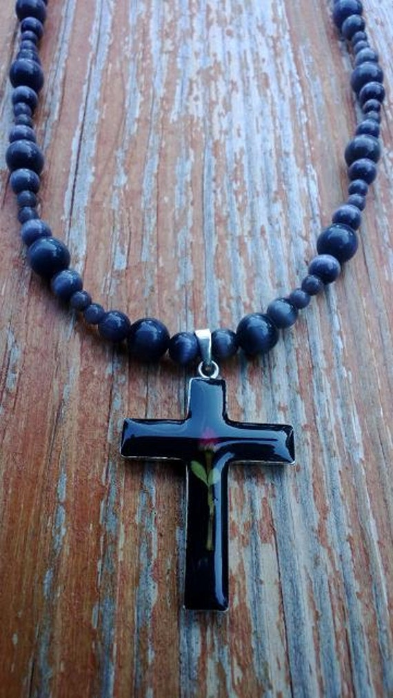 Black Cross Necklace, Large Cross Beaded Necklace, Unique Cross, Religious Jewelry, Easter Empathy