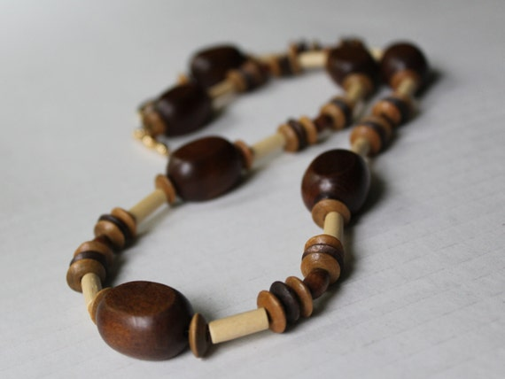 Chunky Wood Necklace, Big Brown Bead Necklace, Boho Necklace, Chunky Statement Necklace