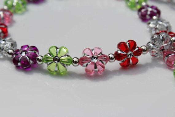 Bead ID Badge Lanyard, Flower Gift for Her