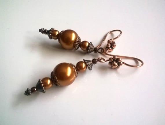 Long Dangle Earrings, Copper Tone Pearl Earrings, Gold Earrings