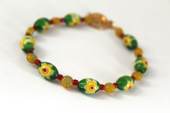 Millefiori Bracelet, Bright Green Yellow and Red Glass Bracelet, 7.5 inch or 8.5 inch