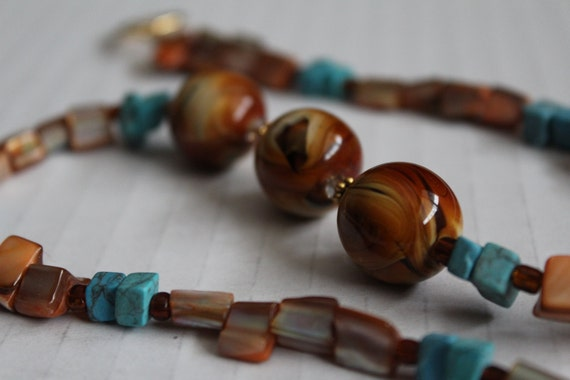 Brown and Blue Beaded Necklace, Chunky Brown and Turquoise Stone Necklace, Southwestern Necklace, Preppy Jewelry