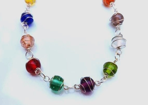 Colorful Glass Bead Necklace, Wire Wrapped Stone Necklace 30 inches