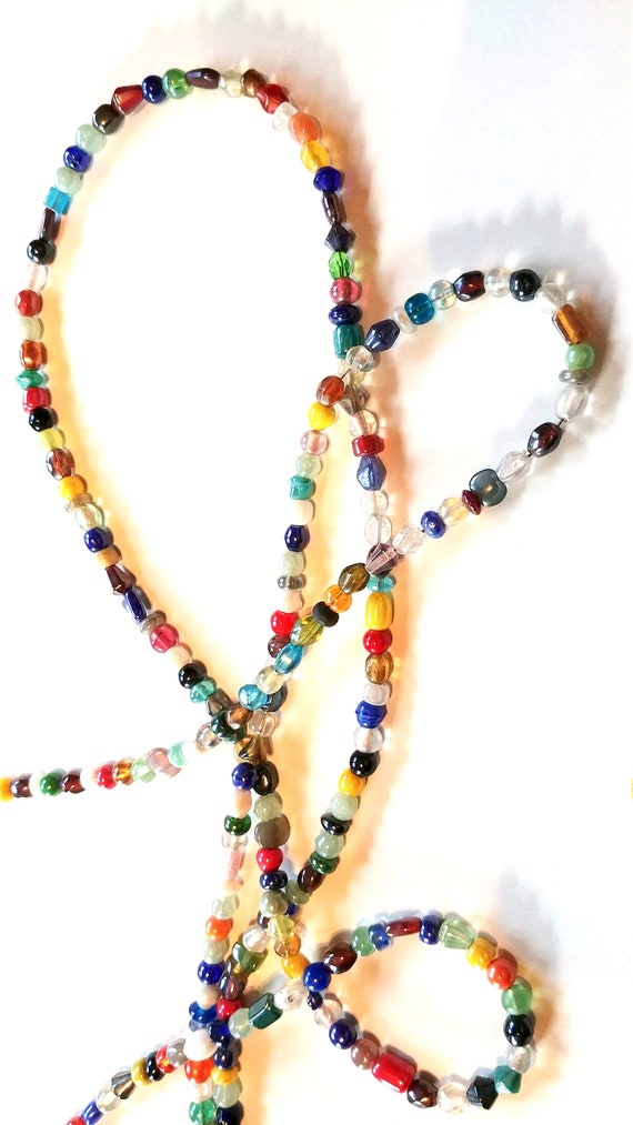 Multi Color Rainbow Eyeglass Chain, Mix Bead Reading Glasses Holder