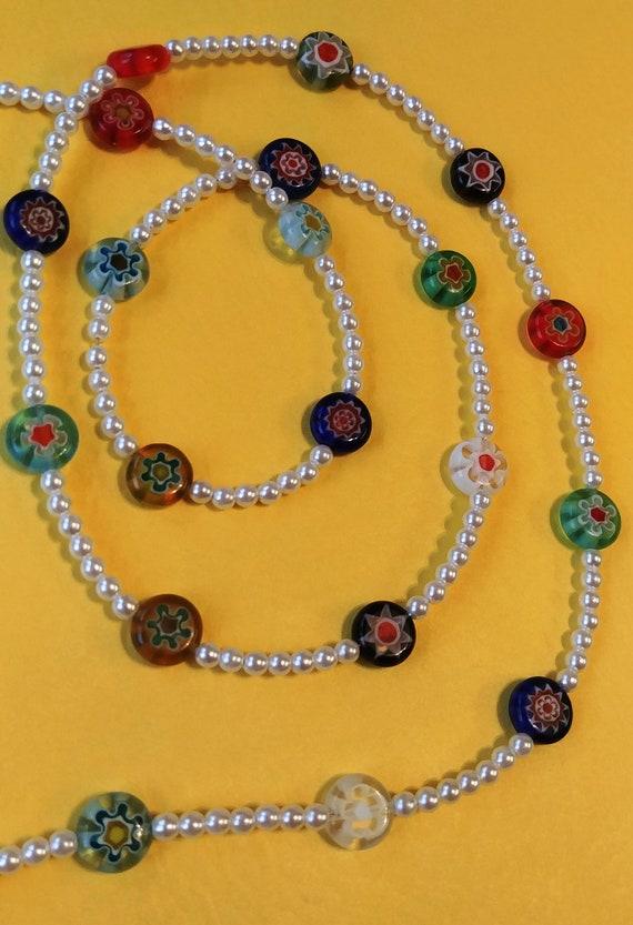 Reading Glasses Eyeglass Chain, Bead Lanyard, Millefiori Beads Holder