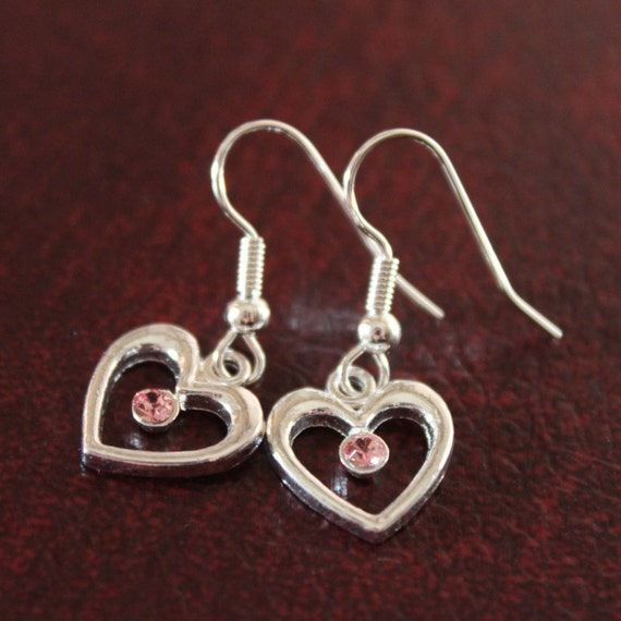 Heart Earrings Jewelry, Dangle Heart Earrings, Silver Hearts, Gift Idea