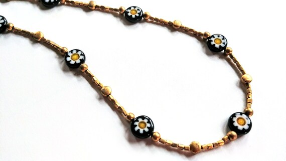 Gold Bead Necklace, Short Gold and Black Necklace