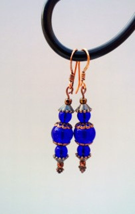 Cobalt Blue Earrings, Long Earrings, Dark Blue Jewelry, Copper Earrings