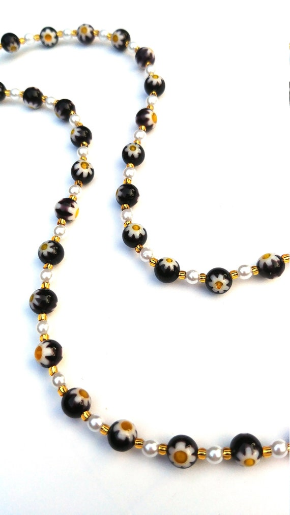 Black Bead Necklace, White and Yellow Daisy Flower Necklace