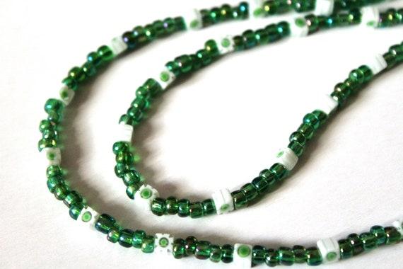 Green Eyeglass Chain, Small Bead Holder for Glasses